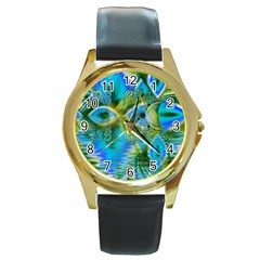 Mystical Spring, Abstract Crystal Renewal Round Leather Watch (gold Rim)