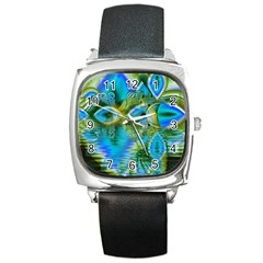 Mystical Spring, Abstract Crystal Renewal Square Leather Watch
