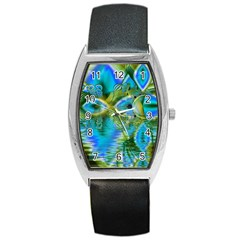 Mystical Spring, Abstract Crystal Renewal Tonneau Leather Watch
