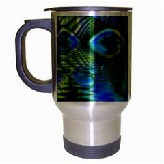 Mystical Spring, Abstract Crystal Renewal Travel Mug (Silver Gray)