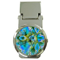 Mystical Spring, Abstract Crystal Renewal Money Clip With Watch