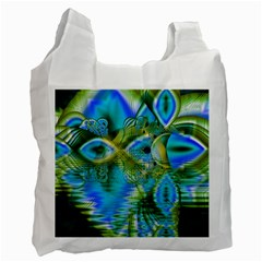 Mystical Spring, Abstract Crystal Renewal White Reusable Bag (Two Sides)