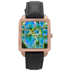 Mystical Spring, Abstract Crystal Renewal Rose Gold Leather Watch