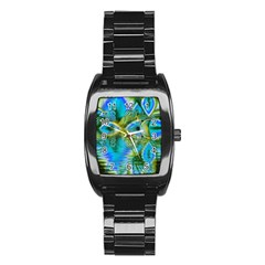 Mystical Spring, Abstract Crystal Renewal Stainless Steel Barrel Watch