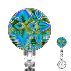Mystical Spring, Abstract Crystal Renewal Stainless Steel Nurses Watch