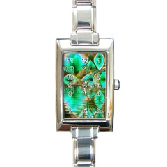 Spring Leaves, Abstract Crystal Flower Garden Rectangular Italian Charm Watch