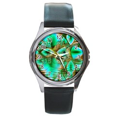 Spring Leaves, Abstract Crystal Flower Garden Round Leather Watch (Silver Rim)