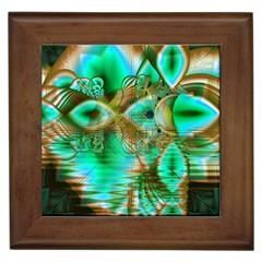 Spring Leaves, Abstract Crystal Flower Garden Framed Ceramic Tile