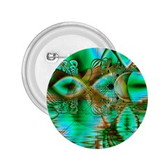 Spring Leaves, Abstract Crystal Flower Garden 2.25  Button