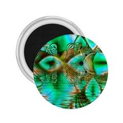 Spring Leaves, Abstract Crystal Flower Garden 2.25  Button Magnet