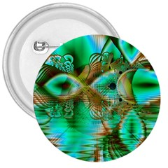 Spring Leaves, Abstract Crystal Flower Garden 3  Button