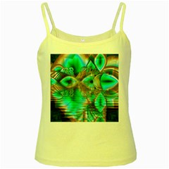 Spring Leaves, Abstract Crystal Flower Garden Yellow Spaghetti Tank