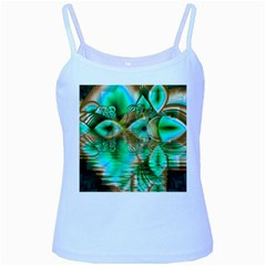 Spring Leaves, Abstract Crystal Flower Garden Baby Blue Spaghetti Tank