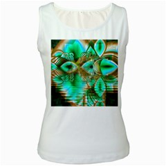 Spring Leaves, Abstract Crystal Flower Garden Women s Tank Top (white)