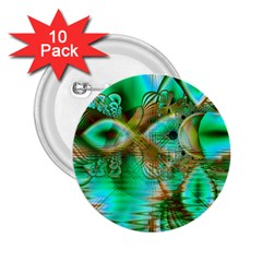 Spring Leaves, Abstract Crystal Flower Garden 2.25  Button (10 pack)