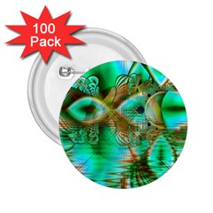 Spring Leaves, Abstract Crystal Flower Garden 2.25  Button (100 pack)