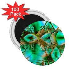 Spring Leaves, Abstract Crystal Flower Garden 2.25  Button Magnet (100 pack)