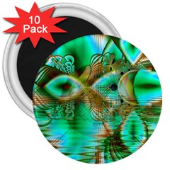 Spring Leaves, Abstract Crystal Flower Garden 3  Button Magnet (10 pack)