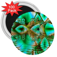 Spring Leaves, Abstract Crystal Flower Garden 3  Button Magnet (100 Pack)