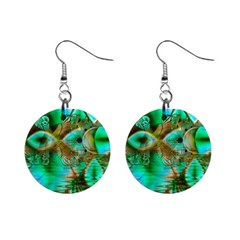 Spring Leaves, Abstract Crystal Flower Garden Mini Button Earrings