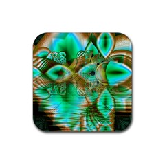 Spring Leaves, Abstract Crystal Flower Garden Drink Coasters 4 Pack (square)