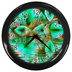 Spring Leaves, Abstract Crystal Flower Garden Wall Clock (Black)