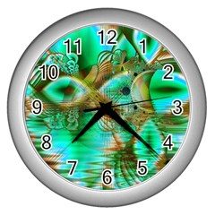 Spring Leaves, Abstract Crystal Flower Garden Wall Clock (Silver)