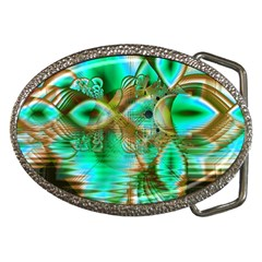 Spring Leaves, Abstract Crystal Flower Garden Belt Buckle (Oval)