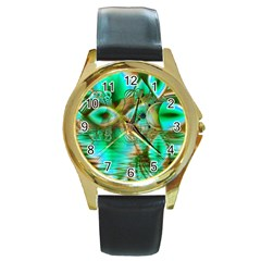 Spring Leaves, Abstract Crystal Flower Garden Round Leather Watch (gold Rim)