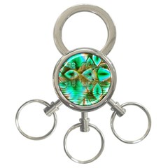 Spring Leaves, Abstract Crystal Flower Garden 3 Ring Key Chain