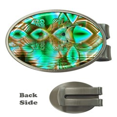 Spring Leaves, Abstract Crystal Flower Garden Money Clip (Oval)