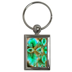 Spring Leaves, Abstract Crystal Flower Garden Key Chain (rectangle)