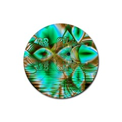 Spring Leaves, Abstract Crystal Flower Garden Drink Coasters 4 Pack (Round)