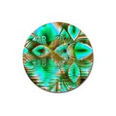 Spring Leaves, Abstract Crystal Flower Garden Magnet 3  (Round)