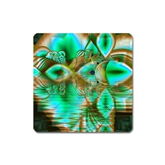 Spring Leaves, Abstract Crystal Flower Garden Magnet (Square)