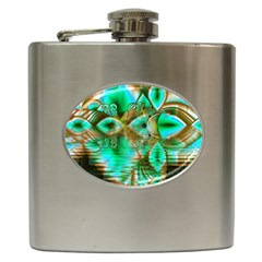 Spring Leaves, Abstract Crystal Flower Garden Hip Flask