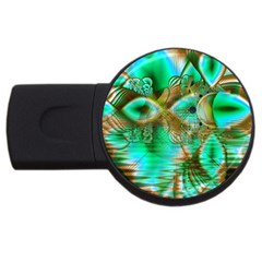 Spring Leaves, Abstract Crystal Flower Garden 1GB USB Flash Drive (Round)