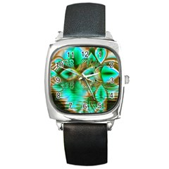 Spring Leaves, Abstract Crystal Flower Garden Square Leather Watch