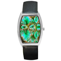 Spring Leaves, Abstract Crystal Flower Garden Tonneau Leather Watch