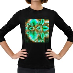 Spring Leaves, Abstract Crystal Flower Garden Women s Long Sleeve T-shirt (Dark Colored)