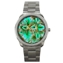 Spring Leaves, Abstract Crystal Flower Garden Sport Metal Watch