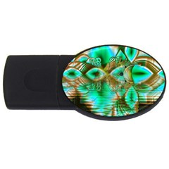 Spring Leaves, Abstract Crystal Flower Garden 4GB USB Flash Drive (Oval)