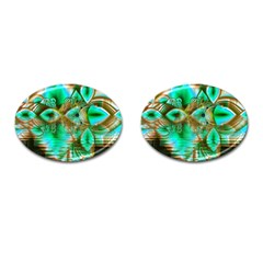 Spring Leaves, Abstract Crystal Flower Garden Cufflinks (oval)
