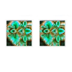 Spring Leaves, Abstract Crystal Flower Garden Cufflinks (Square)