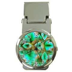 Spring Leaves, Abstract Crystal Flower Garden Money Clip with Watch