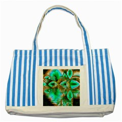 Spring Leaves, Abstract Crystal Flower Garden Blue Striped Tote Bag