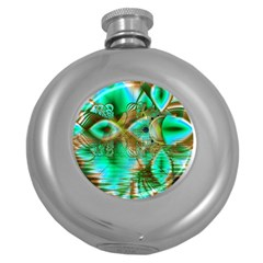 Spring Leaves, Abstract Crystal Flower Garden Hip Flask (Round)