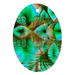 Spring Leaves, Abstract Crystal Flower Garden Oval Ornament (Two Sides)