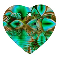 Spring Leaves, Abstract Crystal Flower Garden Heart Ornament (Two Sides)