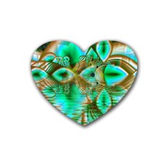Spring Leaves, Abstract Crystal Flower Garden Drink Coasters (Heart)